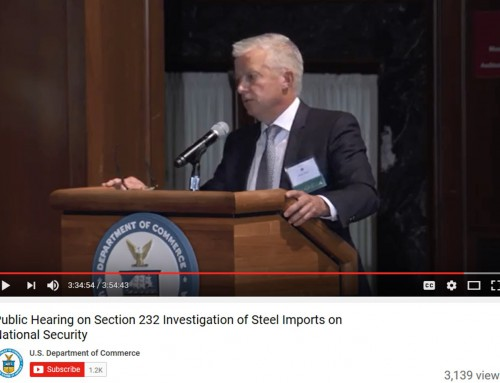 Mark Millett, President and CEO, Steel Dynamics, Inc., Testifies at U. S. Department of Commerce
