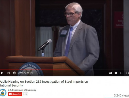 John Stupp, Jr., CEO, Stupp Corporation, Testifies at U. S. Department of Commerce